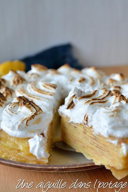 Gâteau de crêpes, façon tarte au citron meringué lemon curd