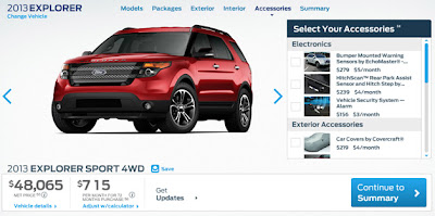 Ford configurator prices new 2013 Explorer Sport from $40,720*