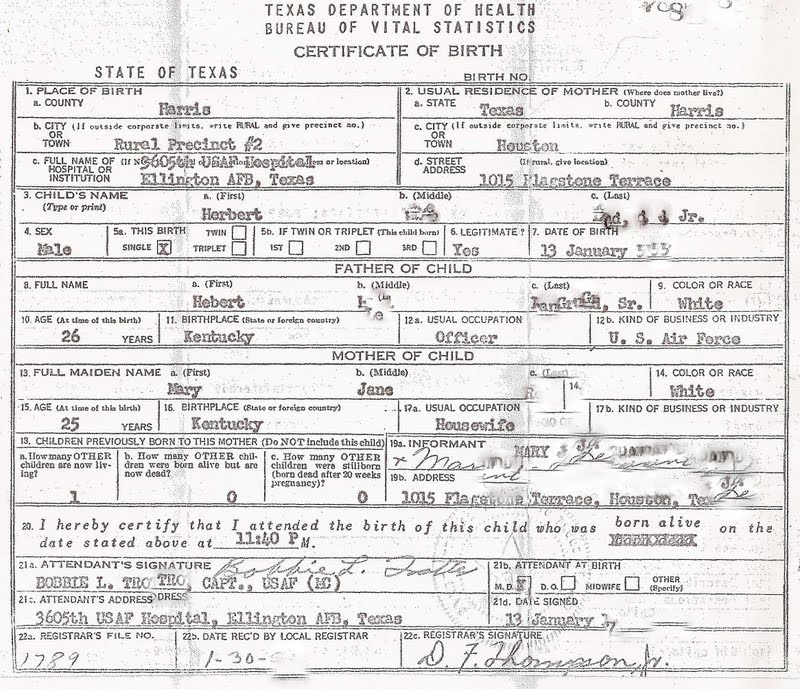 Herb Of Dc My Baby Boomer Birth Certificate