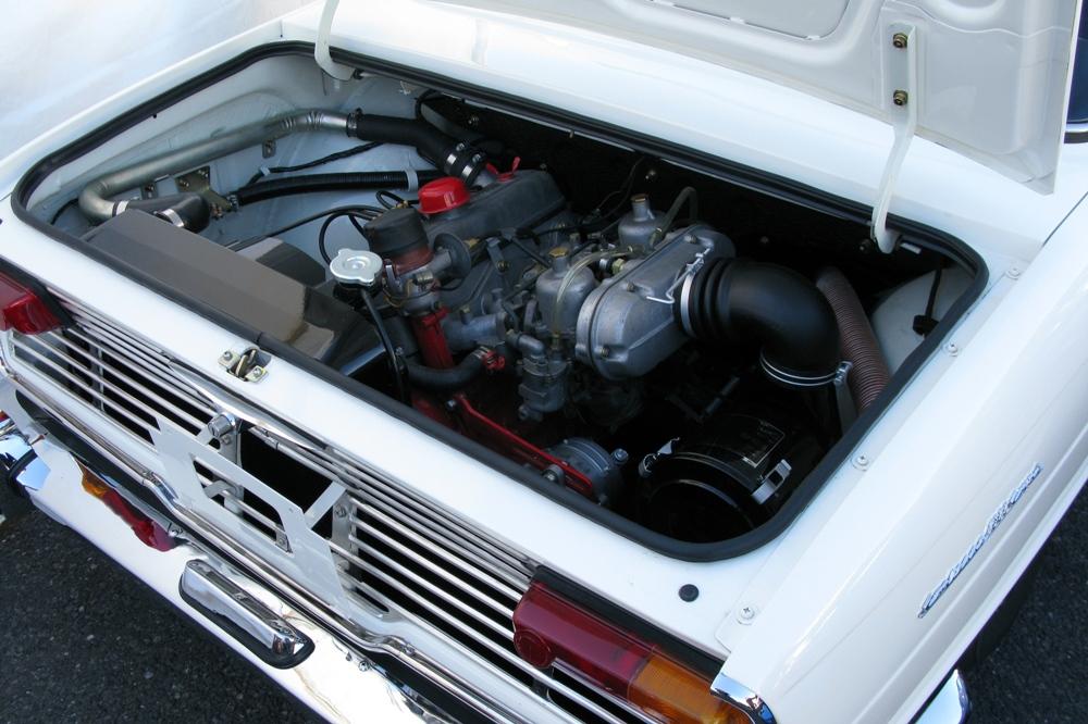 Hino Contessa 1.3, GR100, silnik, engine, stary samochód, napęd na tył, silnik z tyłu, Japonia, JDM, クラシックカー