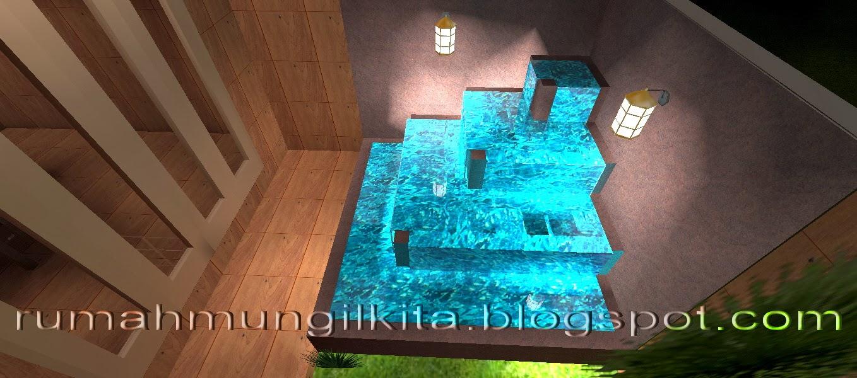 kolam mungil minimalis dengan konsep beritngkat
