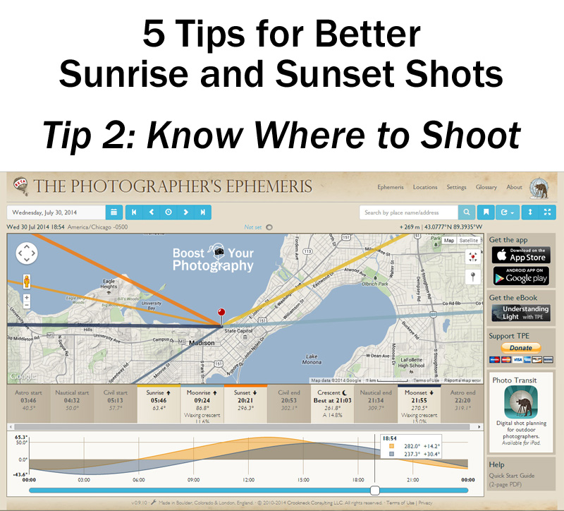 Tip 2 for Better Sunrise and Sunset Shots: Know Where to Shoot | Boost Your Photography