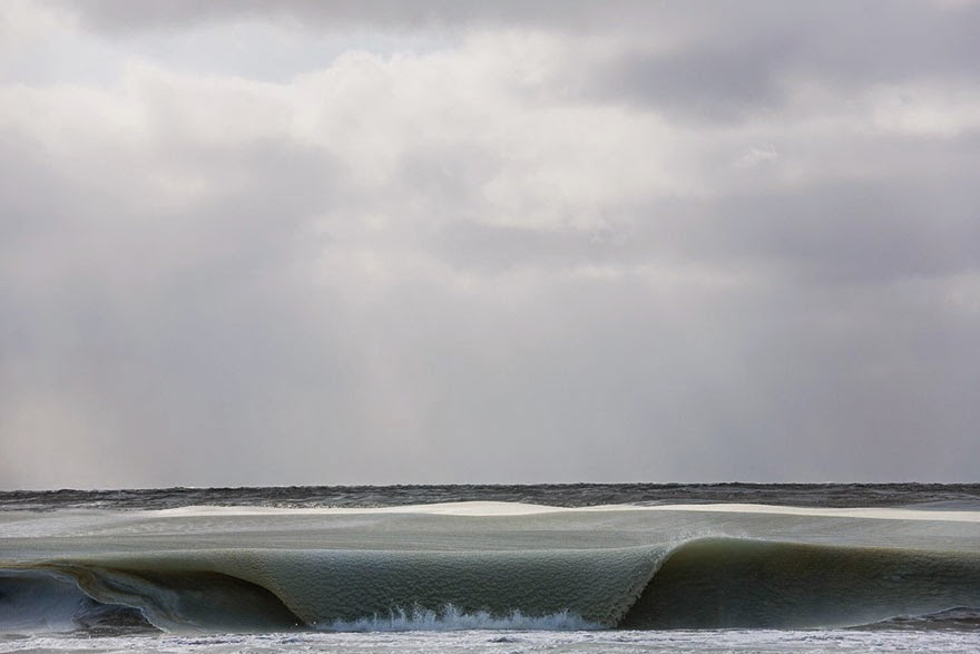 Freezing Ocean Waves In Nantucket Are Rolling In As Slush