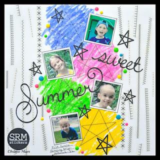 SRM Stickers Blog - Summer Sticker Stitches Layout by Christine - #layoiut #srmpress #stickers #stickerstitches #stitches