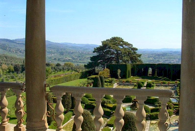 The garden of Villa Gamberaia viewed from the villa