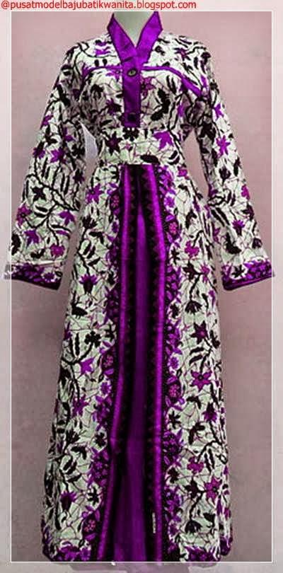 Contoh model gamis batik kombinasi brokat polos dua warna ...