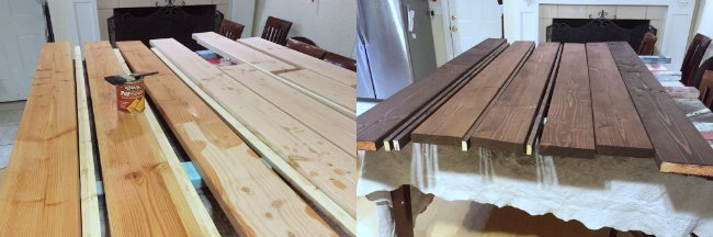 staining the bed wood