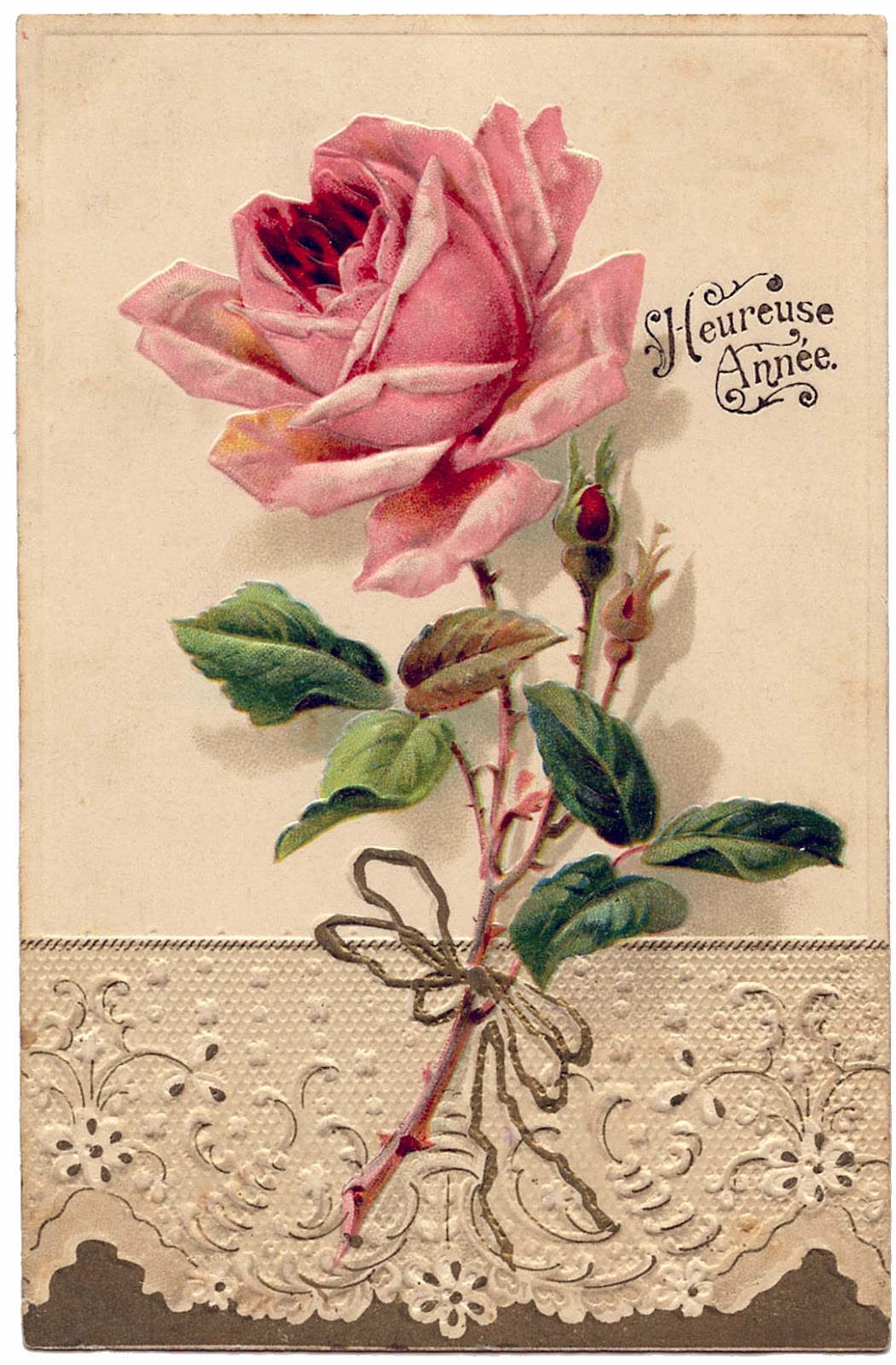wanted to use vintage music paper, French Typography and a rose ...