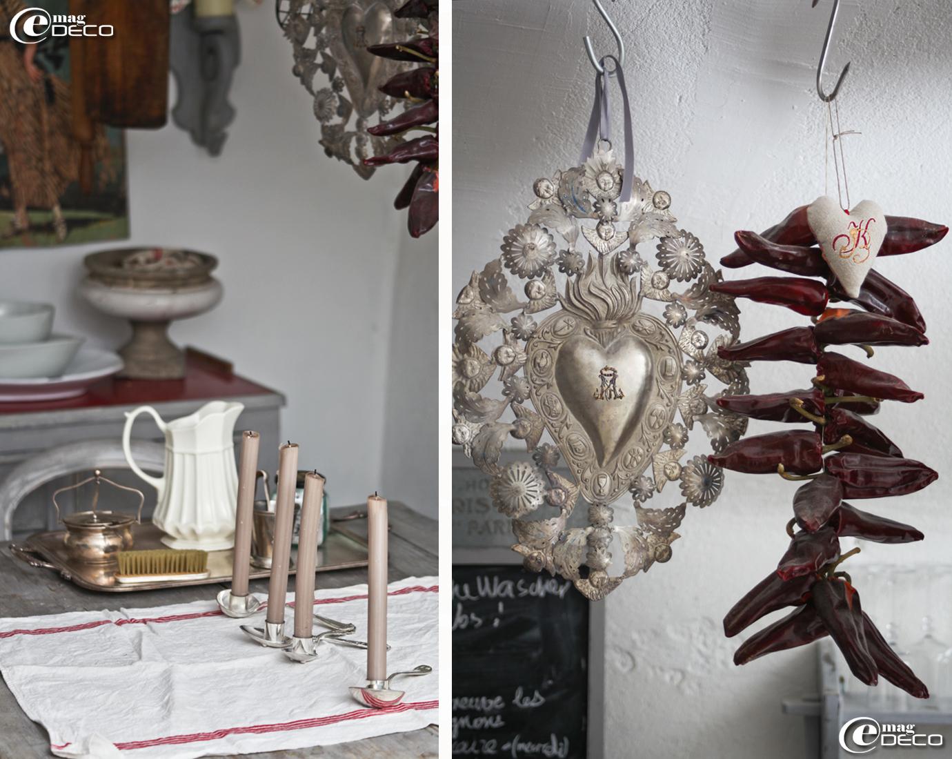 Bougeoirs en argent en forme de cuillères à soupe et ex-voto en métal boutique Clair de Lune à Uzès