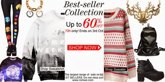 Unfold your free style with Romwe items.  Best-seller Collection! Up to 60% off  Do not miss! 72h only!