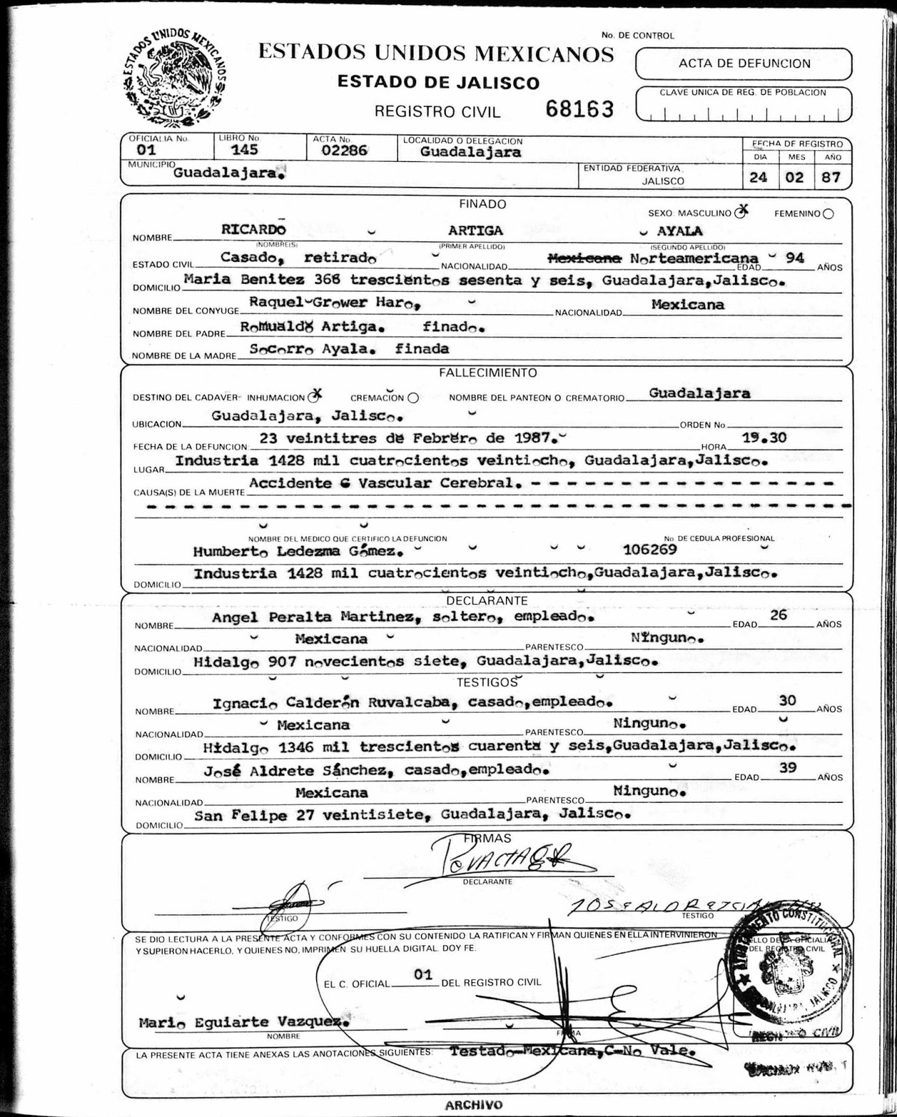 Mcintyre stevens genealogy ricardo ayala artiga 1894 1987 husband of mercedes mcintyre for Mexican birth certificate template