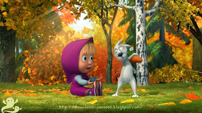 Cartoon Poster of Beautiful baby and rabbit in forest