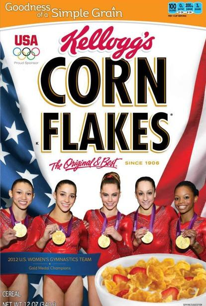 The fierce5, the girls that won gold for the USA in gymnastics now on the Corn Flakes boxes