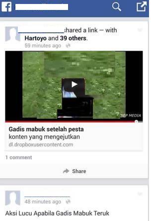 Facebook 'Gadis Mabuk Setelah Pesta'