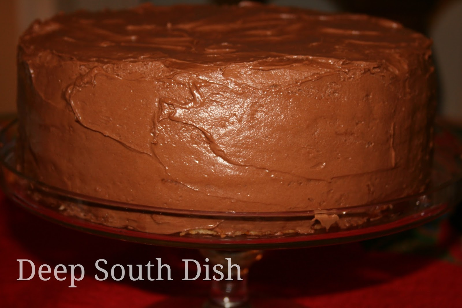 Deep South Dish Basic 1234 Yellow Birthday Cake with Chocolate Icing