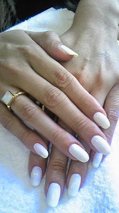 Acrylics White + LED polish manicure