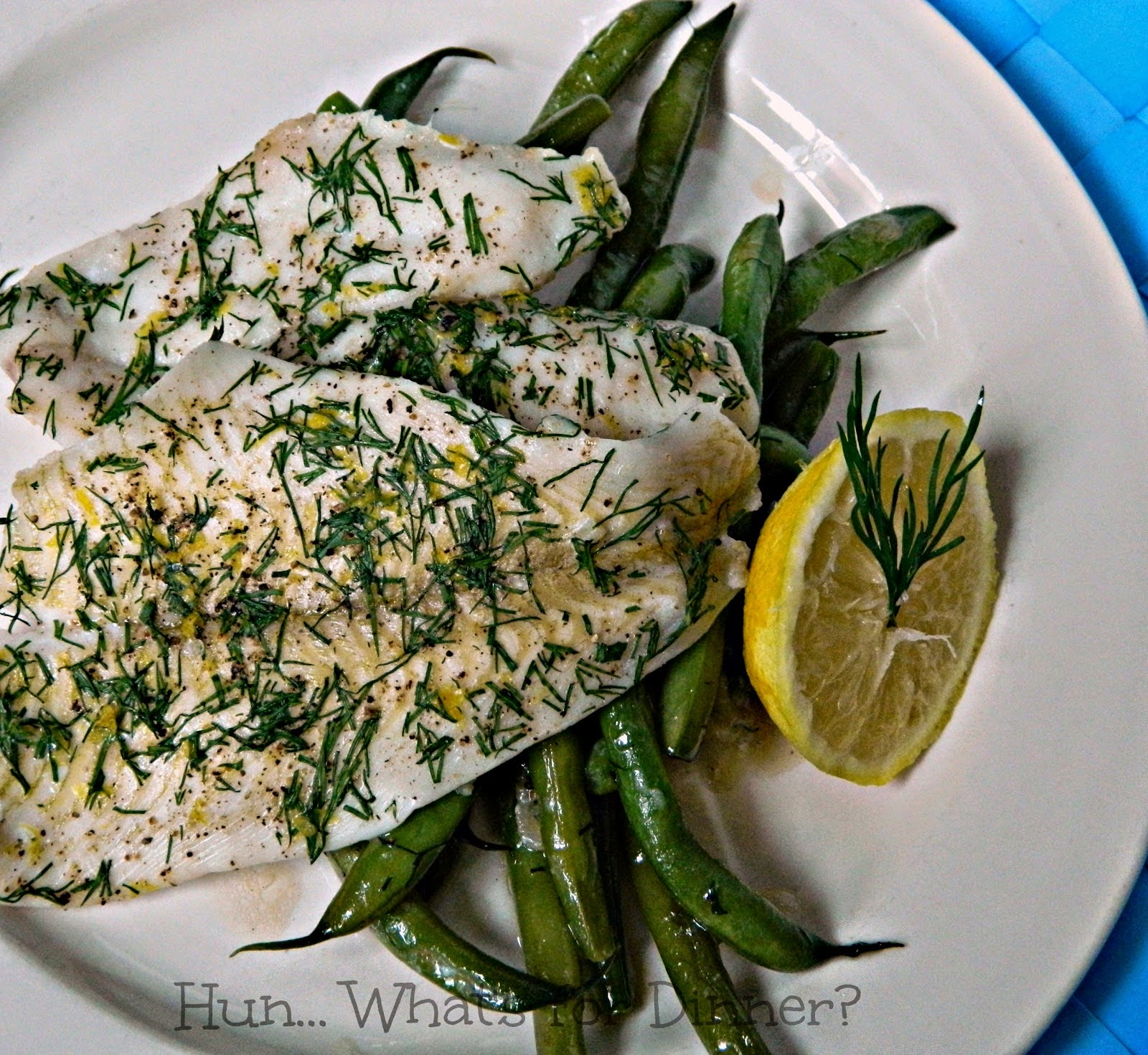 Lemon dill sole with green beans