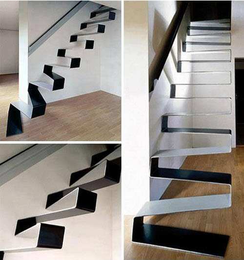 Una escalera vistosa y peligrosa