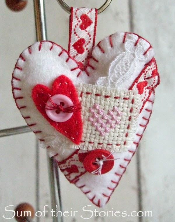 felt heart key ring