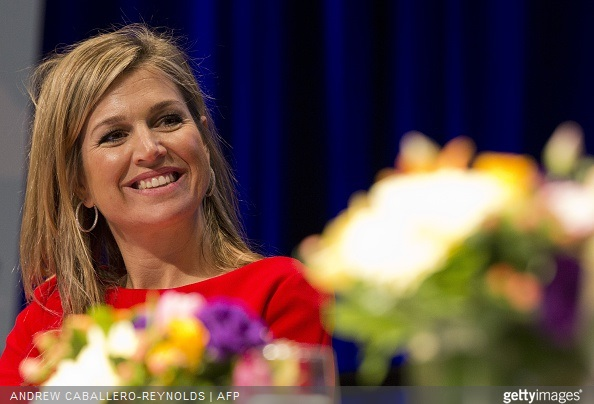 Queen Maxima of the Netherlands smiles during a meeting for 'Universal Financial Access 2020' at the IMF/WB Spring Meetings in Washington, DC