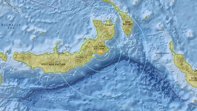 Epicentro sismo 6,8 gardos Papúa Nueva Guinea 30 de Abril 2015