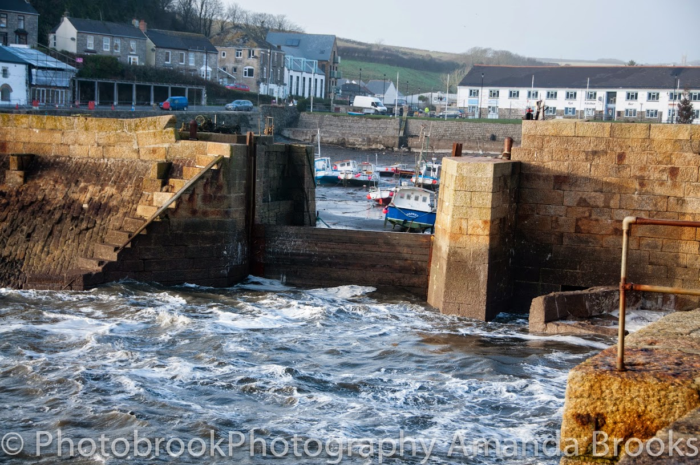 Porthleven harbour during storm