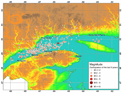 The locus of earthquakes in the Lower St. Lawrence seismic zone
