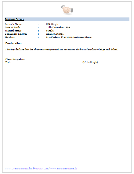Date: (Neha Singh). Download Resume Format ...