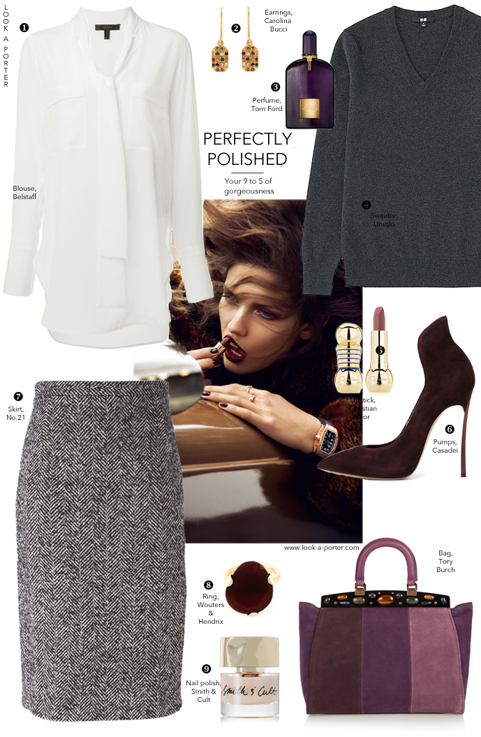 Office outfit ideas, outfit inspiration, style office looks, work wear, how to wear pencil skirts, how to style pencil skirt, what to wear to work, #ootd / No21, Wouters & Hendrix, Smith & Cult, Carolina Bucci, Christian Dior, Belstaff, Casadei, Tory Burch, Uniqlo, Tom Ford,  Via look-a-porter.com style and fashion blog