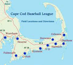 Map showing Cape Cod baseball league team locations
