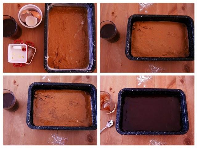 Σοκολατένιο κέικ με γλάσο σοκολάτας Διαδικασία