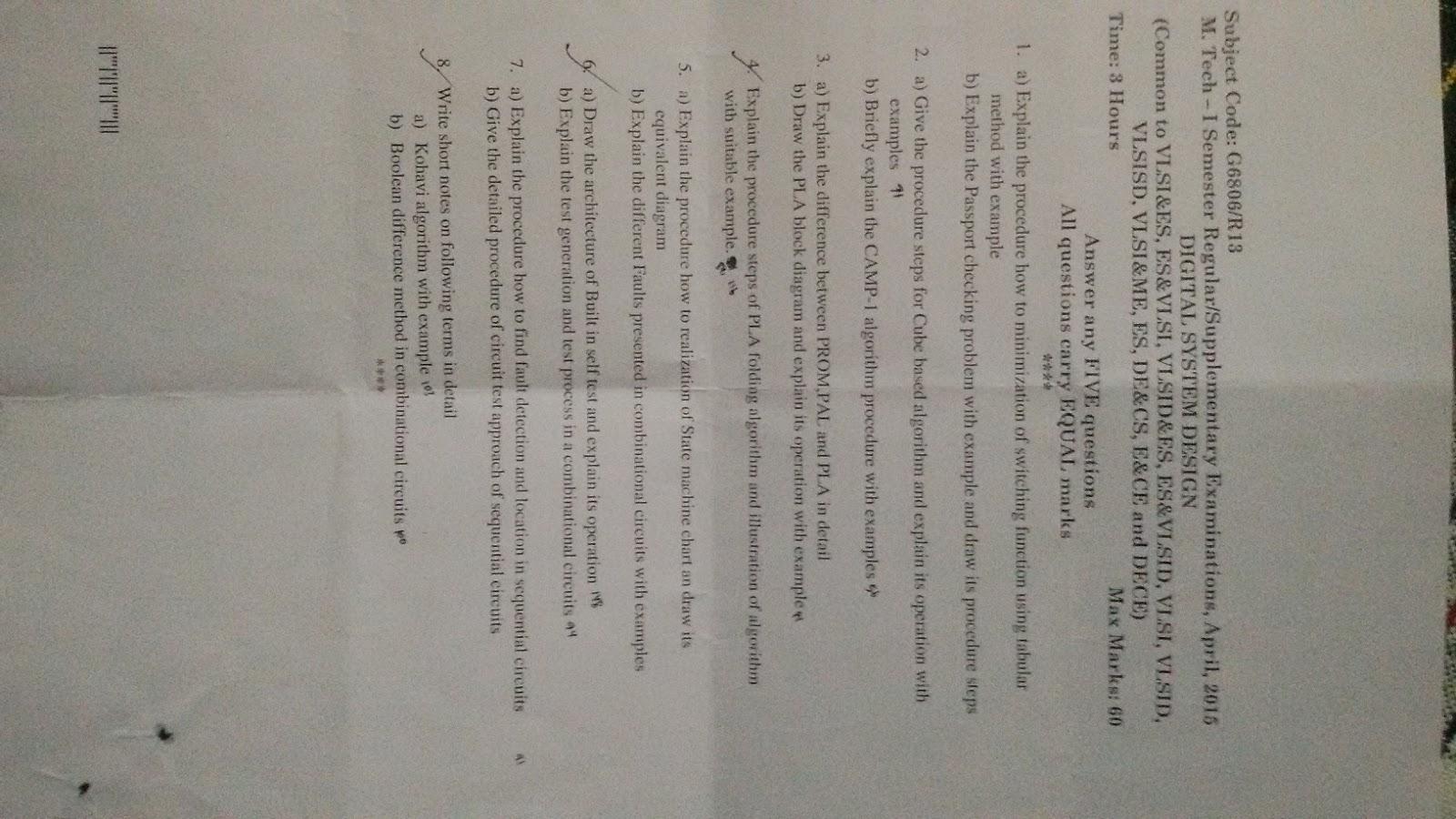 Jntuk Mtech 1 Sem R13 Vlsi Design Question Papers Regular E Passport Circuit Diagram Digital System