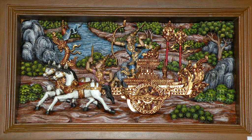 Thai woodcarving, a scene from Ramakien (Ramayana)