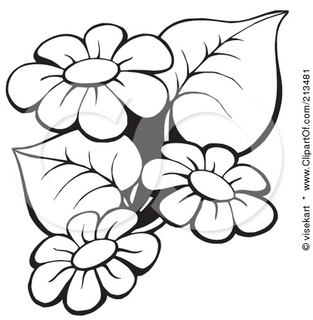 Flowers Outlines on Whimsical Tree Clip Art Free