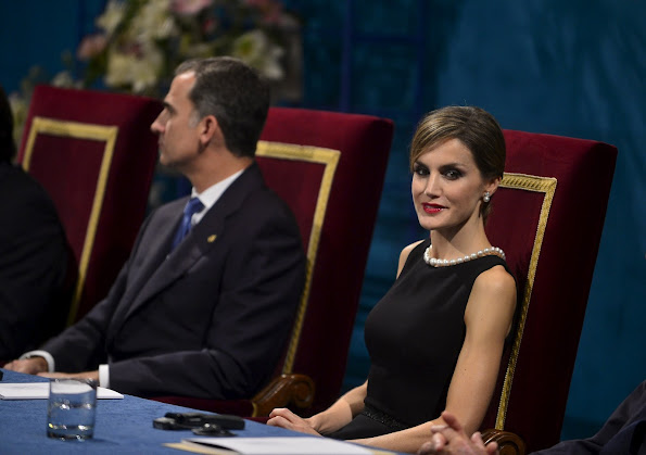 King Felipe VI of Spain, Princess Letizia of Spain and Queen Sofia of Spain attend the Princess of Asturias awards ceremony at the Campoamor Theatre