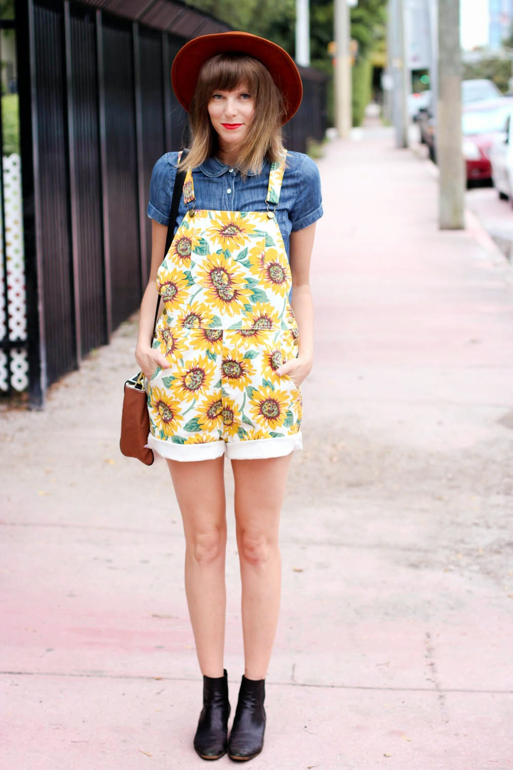 sunflower overalls, j.crew blouse
