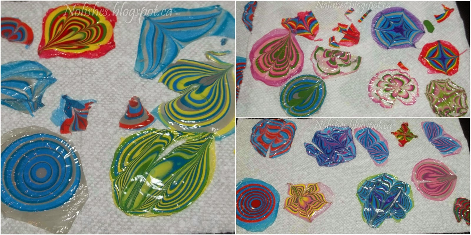 Shot of about 20 or so finished nail polish water marble decals in a variety of colours and patterns