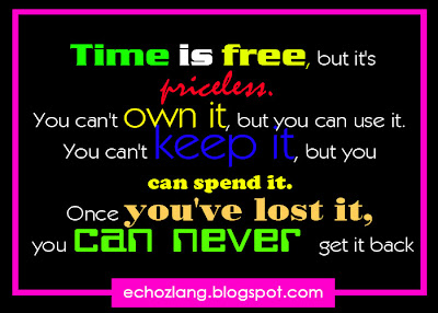 Time is free, but it's priceless. You can't own it, but you can use it