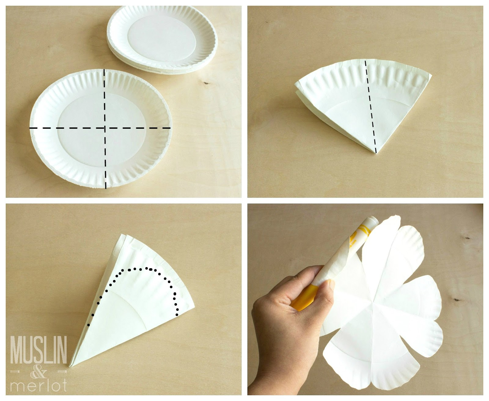 Paper plate flowers muslin and merlot paper plate flower tutorial izmirmasajfo Images