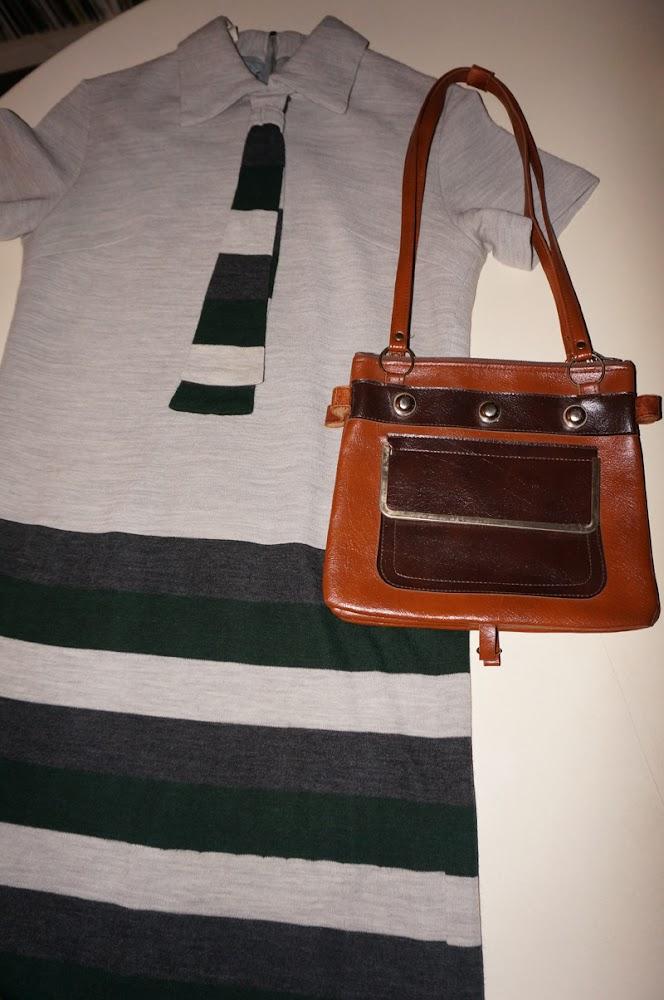 vintage 60s 70s 1960 1970 mod twiggy tie necktie dress stripe stud handbag annees 60 70 robe