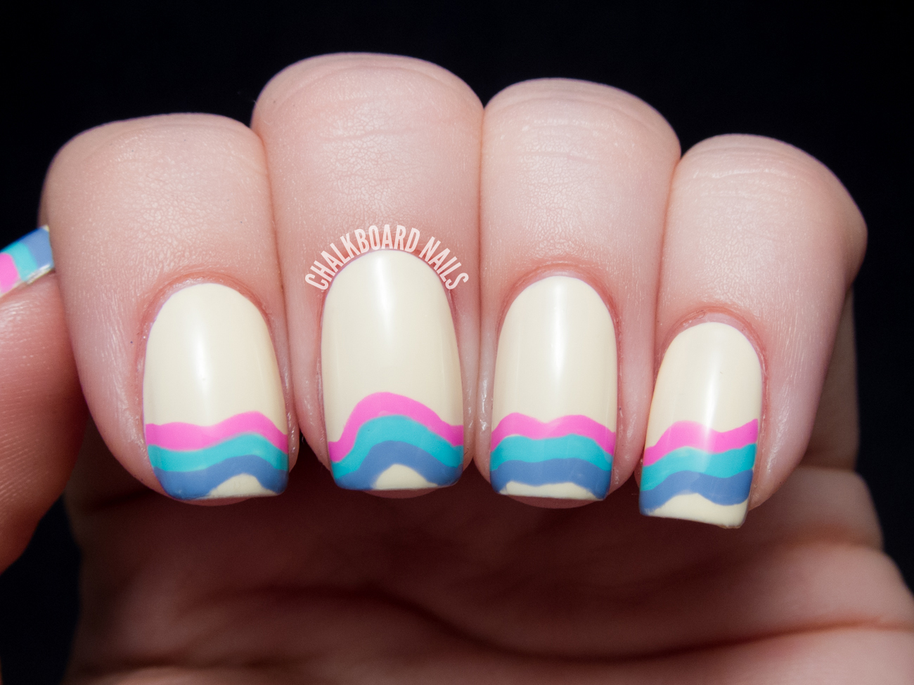 Wavelength French Manicure | Chalkboard Nails | Nail Art Blog