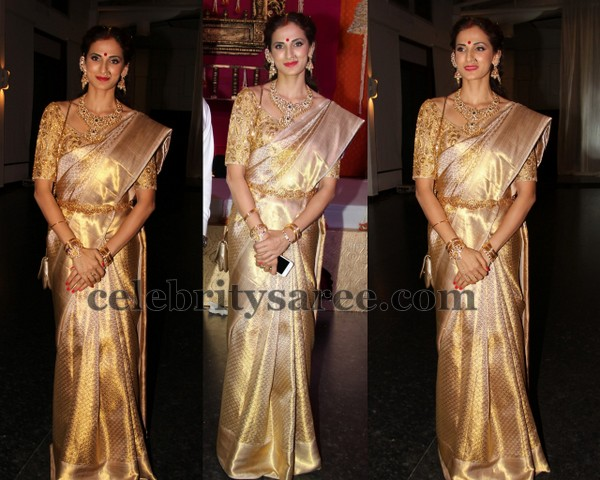 Shilpa Reddy Cream Bridal Saree