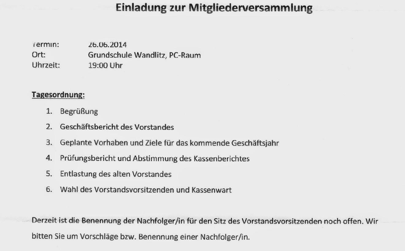 verein zur förderung der grundschule wandlitz e.v., Einladung