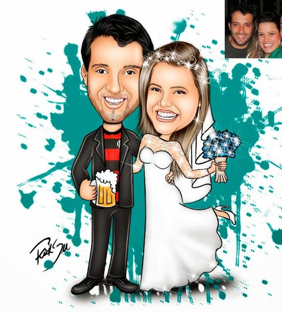 desenho de noivos , para convite de casamento.