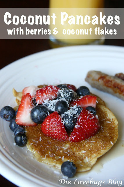 Coconut Pancakes with Berries and Coconut Flakes