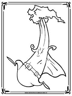 gambar kartun sayur seledri hitam putih