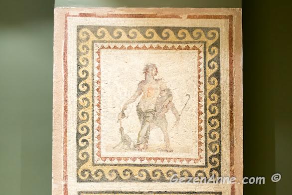 Hatay Arkeoloji Müzesi'ndeki sarhoş adam mozaiği