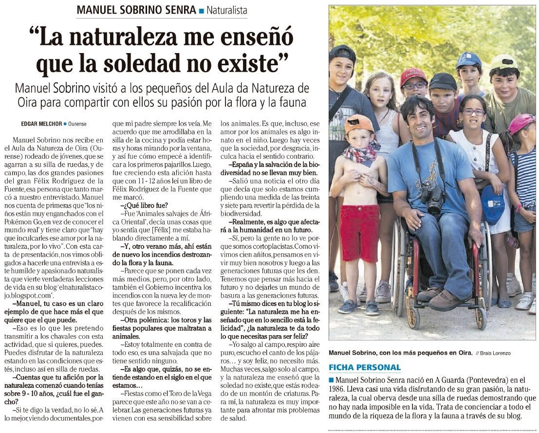 Entrevista para el diario Faro de Vigo (Haz clik en la imagen para ampliar)