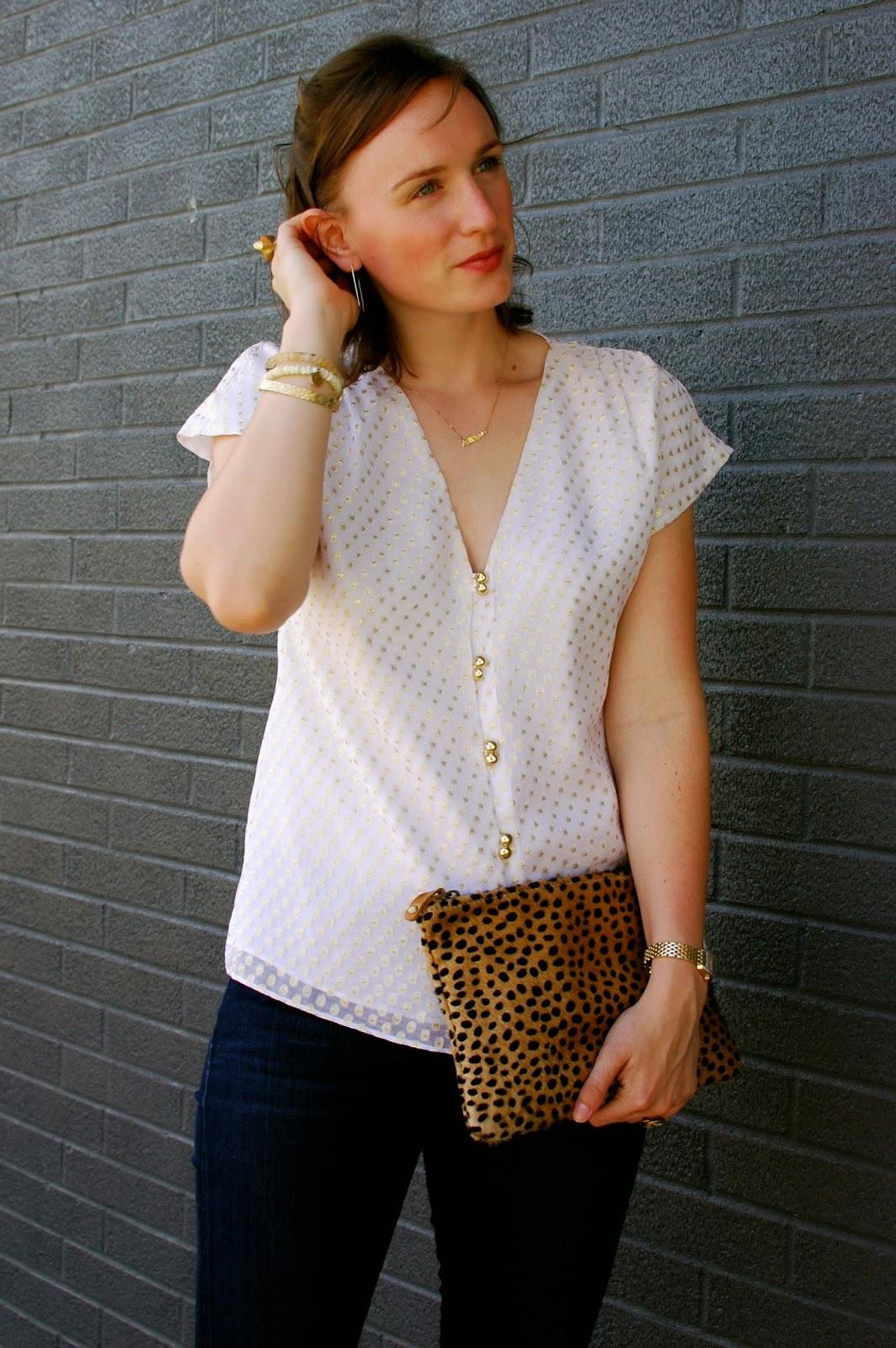 Silk Top, Cheetah Clutch, TN Necklace, Boutique MODA.  MAU Jewelry, LA, Nashville Style