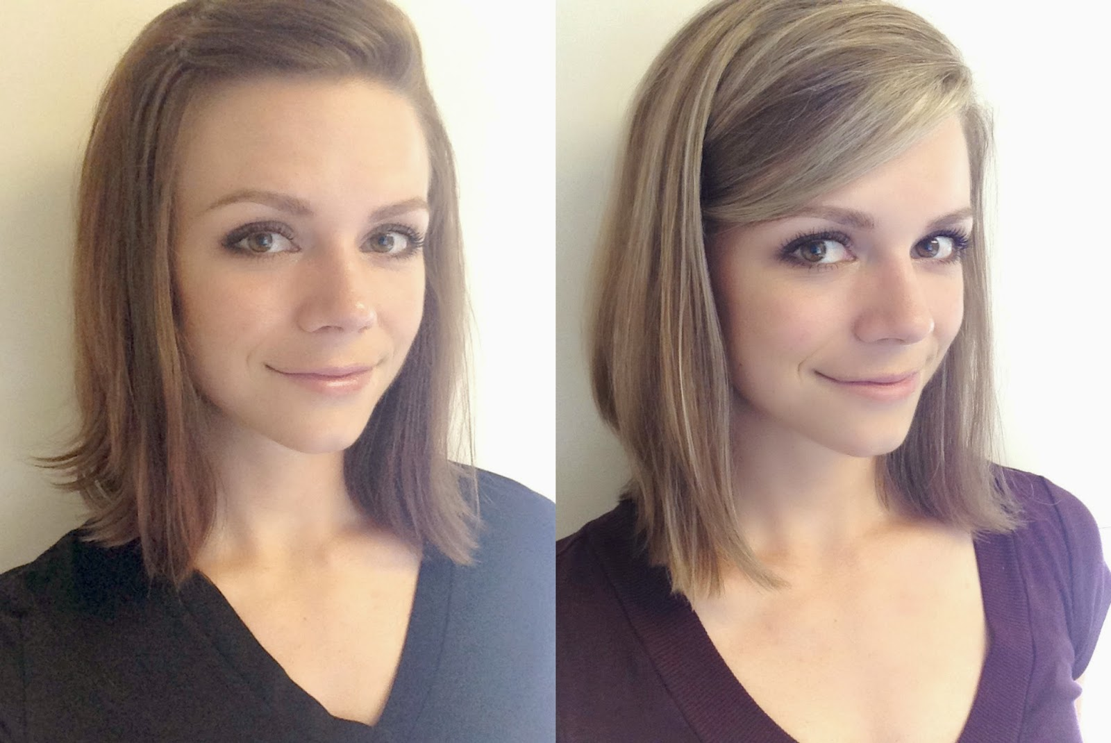 Brunette to Blonde, subtle highlights, medium length hair